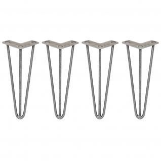 SKISKI Legs 4 x 3 Streben Hairpin Haarnadelbeine Haar-Nadel-Beine Haarnadel-Beine Tischbeine Stuhlbeine Möbelbeine Haarnadel-Tischbeine 30.5cm H 10mm D blanker Stahl