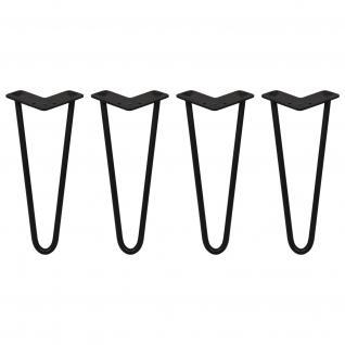 SKISKI Legs 4 x 2 Streben Hairpin Haarnadelbeine Haar-Nadel-Beine Haarnadel-Beine Tischbeine Stuhlbeine Möbelbeine Haarnadel-Tischbeine 30.5cm H 12mm D pulverbeschichteter Stahl - Schwarz