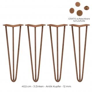SKISKI Legs 4 x 40, 6cm 2 Streben Hairpin Haarnadelbeine Haar-Nadel-Beine Haarnadel-Beine Tischbeine Stuhlbeine Möbelbeine Haarnadel-Tischbeine 12mm T