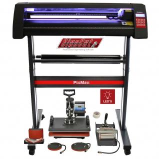 Vinyl Schneideplotter mit LED Folienplotter Schneideplotter Plotter inklusive 3 x Roland-Messer 5 in 1 Transferpresse Hitzepresse SignCut Software