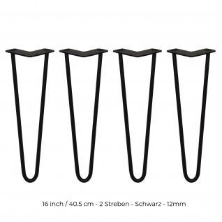 SKISKI Legs 4 x 2 Streben Hairpin Haarnadelbeine Haar-Nadel-Beine Haarnadel-Beine Tischbeine Stuhlbeine Möbelbeine Haarnadel-Tischbeine 40.5cm H 12mm D pulverbeschichteter Stahl - Schwarz