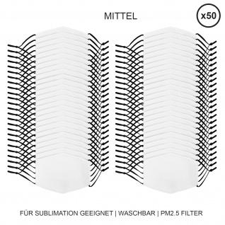 50 Stück mittelgroße Gesichtsmasken für den Sublimationsdruck Mund- Nasenbedeckung Stoffmaske Blanko Maske zum Bedrucken waschbar Mund-Nasenschutz Mundbedeckung Face Mask Medium