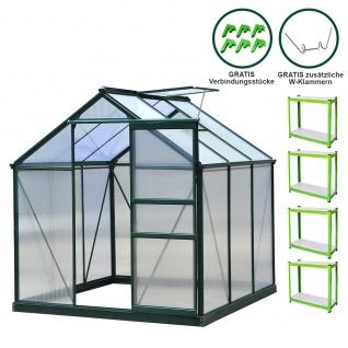 Gewächshaus 1.9m x 1.9m mit Sockel Aluminium Alu Gartenhaus 200cm x 190cm x 190cm Treibhaus Hybrid Glashaus PC-Platten und 2 Regalen