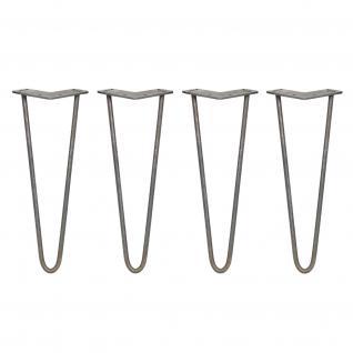 SKISKI Legs 4 x 2 Streben Haipin Haarnadelbeine Haar-Nadel-Beine Haarnadel-Beine Tischbeine Stuhlbeine Möbelbeine Haarnadel-Tischbeine 35.5cm H 12mm D blanker Stahl