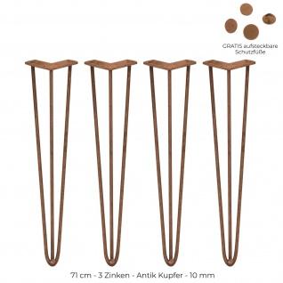 SKISKI Legs 4 x 71cm 3 Streben Hairpin Haarnadelbeine Haar-Nadel-Beine Haarnadel-Beine Tischbeine Stuhlbeine Möbelbeine Haarnadel-Tischbeine 10mm