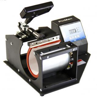 PixMax Tassenpresse Transferpresse in Schwarz mit GRATIS Sublimationspapier + GRATIS 22m hitzebeständiges Klebeband