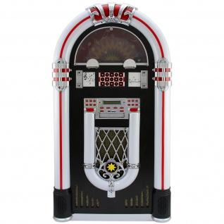 Jukebox Holz-Gehäuse Retro 50er Jahre Musikbox mit Schallplattenspieler USB-SD-Slot, AUX, MP3 Player CD-Player Bluetooth Radio mit LED-Beleuchtung Fernbedienung 105cm x 57cm x 30cm