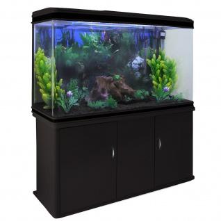 300L Aquarium Komplettset mit schwarzem Unterschrank & schwarzem Kies 70cm H x 120cm B x 39cm T