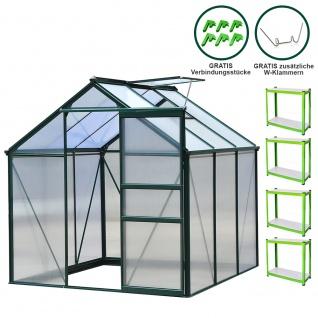 Gewächshaus 1.9m x 1.9m mit Regale ohne Sockel Aluminium Alu Gartenhaus 195cm x 190cm x 190cm Treibhaus Hybrid Glashaus PC-Platten und 2 Regalen