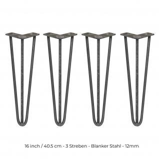 SKISKI Legs 4 x 3 Streben Haarnadelbeine Haar-Nadel-Beine Haarnadel-Beine Tischbeine Stuhlbeine Möbelbeine Haarnadel-Tischbeine 40.5cm H 12mm D blanker Stahl