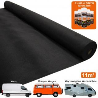Auto Verkleidung Autostoff Teppich-Verkleidung Auto-Polsterstoff Fahrzeug Innenraum Dekostoff Bezugsstoff Dachhimmel Verkleidung Anthrazit | INKLUSIVE 5 x Klebstoff-Sprühdosen