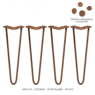 SKISKI Legs 4 x 40, 6cm 2 Streben Hairpin Haarnadelbeine Haar-Nadel-Beine Haarnadel-Beine Tischbeine Stuhlbeine Möbelbeine Haarnadel-Tischbeine 10mm
