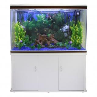 300L Aquarium Komplettset mit weißem Unterschrank & blauem Kies 70cm H x 120cm B x 39cm T
