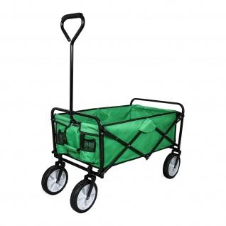 Gartenwagen Faltbarer Transportwagen Bollerwagen Handwagen Rollenwagen Gerätewagen Strandwagen bis zu 70kg belastbar in Grün