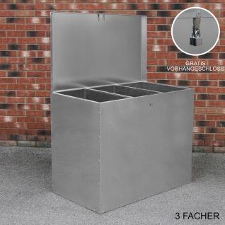 Verzinkter Futterbehälter 3 Fächer 64 Liter Futtertonne Futteraufbewahrung Futterlagerung Futterlager wetterfest Futtertrog mit Deckel witterungsbeständig Futterbox 26927