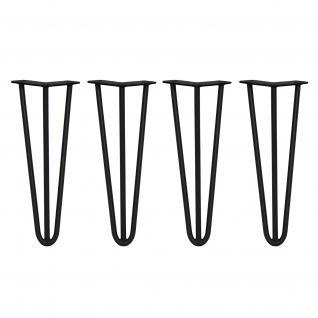 SKISKI Legs 4 x 3 Streben Hairpin Haarnadelbeine Haar-Nadel-Beine Haarnadel-Beine Tischbeine Stuhlbeine Möbelbeine Haarnadel-Tischbeine 35.5cm H 10mm D pulverbeschichteter Stahl - Schwarz