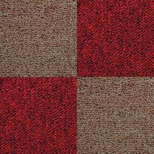 MonsterShop 40 Stück Teppichfliesen Bodenfliesen Teppich 50 x 50 cm für 10 m² in Sand & Rot