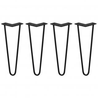 SKISKI Legs 4 x 2 Streben Haipin Haarnadelbeine Haar-Nadel-Beine Haarnadel-Beine Tischbeine Stuhlbeine Möbelbeine Haarnadel-Tischbeine 35.5cm H 10mm D pulverbeschichteter Stahl - Schwarz
