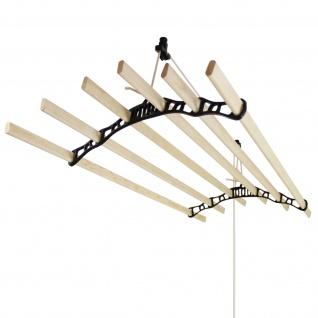 MonsterShop 2.4 m Deckentrockner aus Holz Kleidetrockner Wäschetrockner Trockner Deckenwäschetrockner im Viktoranischer Stil -Schwarz