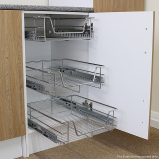 KuKoo 4 x Küchenschublade Schrankauszug Korbauszug Küchenkorb Teleskop Schublade ausziehbar und sanft schließend 43cm x 49, 7cm x 14cm