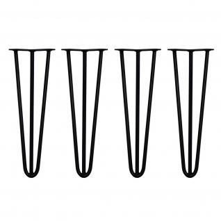 SKISKI Legs 4 x 3 Sreben Hairpin Haarnadelbeine Haar-Nadel-Beine Haarnadel-Beine Tischbeine Stuhlbeine Möbelbeine Haarnadel-Tischbeine 40.5cm H 12mm D pulverbeschichteter Stahl - Schwarz