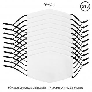 10 Stück große Gesichtsmasken für den Sublimationsdruck Mund- Nasenbedeckung Stoffmaske Blanko Maske zum Bedrucken waschbar Mund-Nasenschutz Mundbedeckung Face Mask Groß