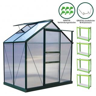 Gewächshaus 1.9m x 1.2m mit Sockel Aluminium Alu Gartenhaus 200cm x 190cm x 120cm Treibhaus Hybrid Glashaus PC-Platten und 2 Regalen