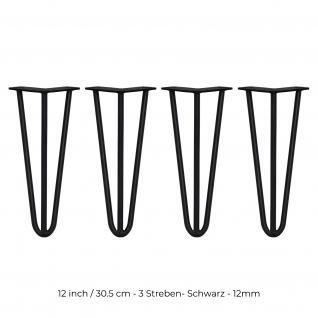 SKISKI Legs 4 x 3 Streben Hairpin Haarnadelbeine Haar-Nadel-Beine Haarnadel-Beine Tischbeine Stuhlbeine Möbelbeine Haarnadel-Tischbeine 30.5cm H 12mm D pulverbeschichteter Stahl - Schwarz