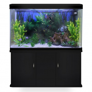 300L Aquarium Komplettset mit schwarzem Unterschrank & weißem Kies 70cm H x 120cm B x 39cm T
