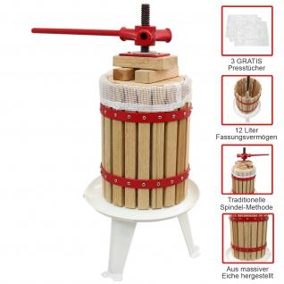 KuKoo 12 Liter - Obstpresse Beerenpresse Wein Obstmühle Obst pressen Muser Obstbau mit 3 x Presstücher