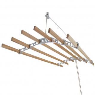 Monstershop Deckentrockner Holz 1, 8m Kleidertrockner platzsparend Wäscheständer hängend Wäschetrockner für Decke 6 Kiefer-Stangen im Viktoranischer Stil -Weiß