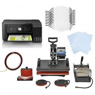 10 Gesichtsmasken für den Sublimationsdruck, 5-in-1 Hitzepresse & Eco Tank Drucker