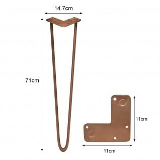SKISKI Legs 4 x 71cm 2 Streben Hairpin Haarnadelbeine Haar-Nadel-Beine Haarnadel-Beine Tischbeine Stuhlbeine Möbelbeine Haarnadel-Tischbeine 10mm - Vorschau 2