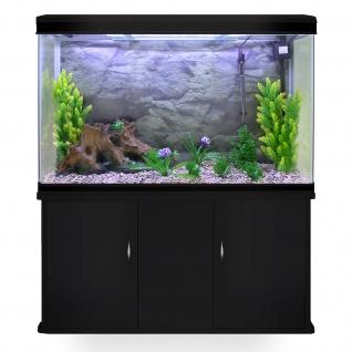 300L Aquarium Komplettset mit schwarzem Unterschrank & naturfarbenem Kies 70cm H x 120cm B x 39cm T