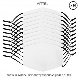 10 Stück mittelgroße Gesichtsmasken für den Sublimationsdruck Mund- Nasenbedeckung Stoffmaske Blanko Maske zum Bedrucken waschbar Mund-Nasenschutz Mundbedeckung Face Mask Medium