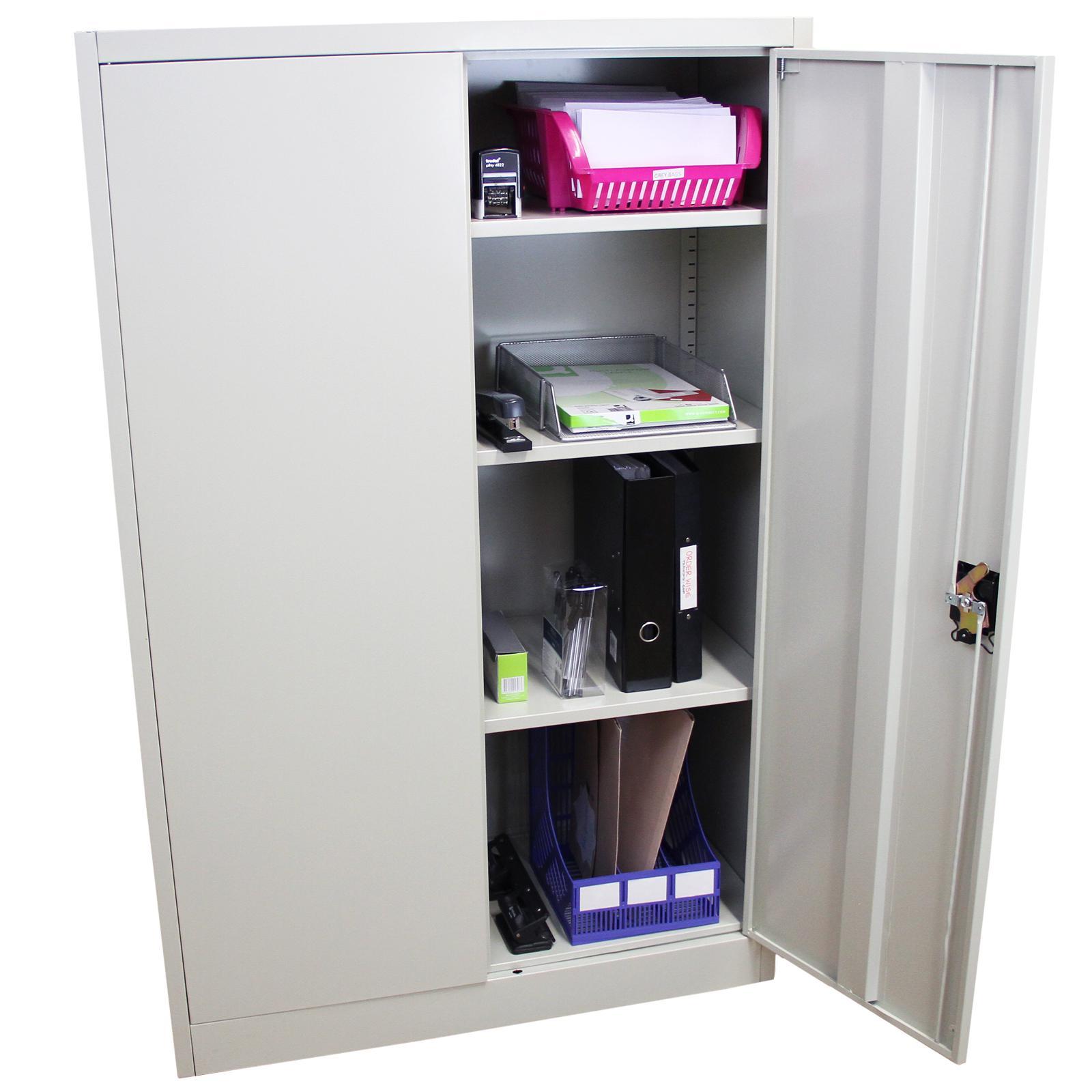 MonsterShop abschließbarer Aktenschrank Ablageschrank Registratur Stahlschrank Büroschrank Büromöbel 140cm (H) x 90cm (B) x 40cm (T) hellgrau 3 ...