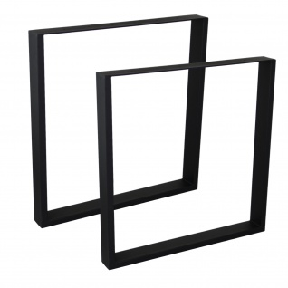 4er Set Möbelbeine Ausführung Eckig Schwarz 25 x 25 mm Höhe 500 mm Tischfüße