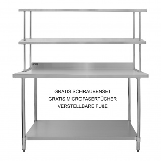 Kukoo Gastro Edelstahl KuKoo Regal Aufsatzbord Arbeitstisch Aufsatzboard Gastronomie Küche Gastroküche 450 kg Tragkraft 150 cm