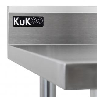 KuKoo Gastro Edelstahltisch Arbeitstisch Küchentisch Zubereitungstisch Gastrotisch Gastronomie 1, 52m breit 250 kg Tragkraft - Vorschau 4