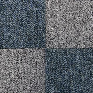 MonsterShop 40 Stück Teppichfliesen Bodenfliesen Teppich 50 x 50 cm für 10 m² in Blau & Grau
