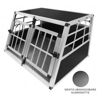 Auto Hundetransportbox große Doppelbox Hundebox Transportbox Gitterbox Fahrzeugbox Kofferraumbox Katzen Hunde Aluminium Trapez