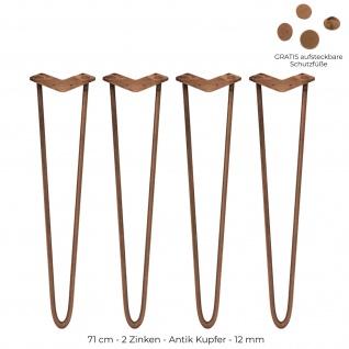 SKISKI Legs 4 x 71cm 2 Streben Hairpin Haarnadelbeine Haar-Nadel-Beine Haarnadel-Beine Tischbeine Stuhlbeine Möbelbeine Haarnadel-Tischbeine 12mm