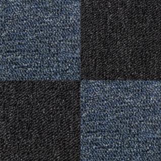 MonsterShop 40 Stück Teppichfliesen Bodenfliesen Teppich 50 x 50 cm für 10 m² in Schwarz & Blau