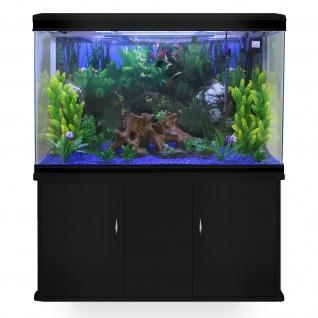 300L Aquarium Komplettset mit schwarzem Unterschrank & blauem Kies 70cm H x 120cm B x 39cm T