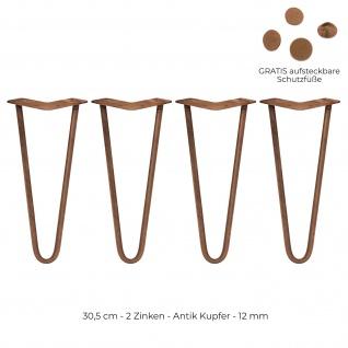 SKISKI Legs 4 x 30.5cm 2 Streben Hairpin Haarnadelbeine Haar-Nadel-Beine Haarnadel-Beine Tischbeine Stuhlbeine Möbelbeine Haarnadel-Tischbeine
