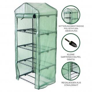 Mini-Gewächshaus / Foliengewächshaus mit 4 Regale und Polyethylen-Abdeckung PE Garten Pflanzenzucht Treibhaus Tomatenhaus Pflanzenhaus