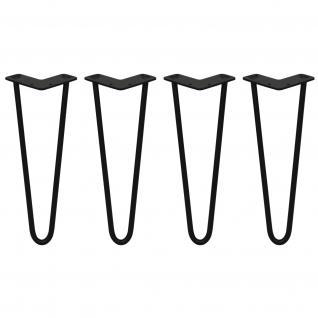 SKISKI Legs 4 x 2 Streben Hairpin Haarnadelbeine Haar-Nadel-Beine Haarnadel-Beine Tischbeine Stuhlbeine Möbelbeine Haarnadel-Tischbeine 35.5cm H 12mm D pulverbeschichteter Stahl - Schwarz