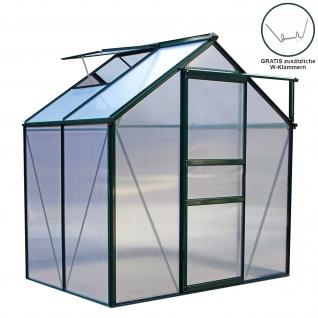 Gewächshaus 1.9m x 1.2m ohne Sockel Aluminium Alu Gartenhaus 195cm x 190cm x 120cm Treibhaus Hybrid Glashaus PC-Platten
