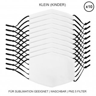 10 Stück kleine Gesichtsmasken für den Sublimationsdruck Mund- Nasenbedeckung Stoffmaske Blanko Maske zum Bedrucken waschbar Mund-Nasenschutz Mundbedeckung Face Mask Klein Kindermasken