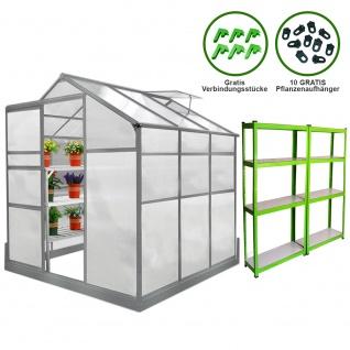 Gewächshaus 1.8m x 1.8m mit Boden und 2 Regale Aluminium Alu Gartenhaus Treibhaus Hybrid Glashaus PC-Platten inklusive Fundament